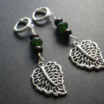 Nature Girl- Leaf- Leaves- Forest- Woodland- Emerald Green Gemstone- Wood- Silver Plated Hoop- Dangle Earrings- Handmade- Gift for Her