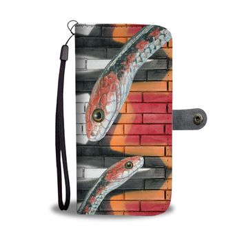 Snake Red Print Wallet Case-Free Shipping