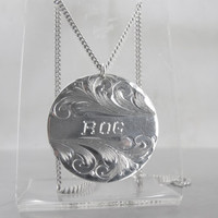 Art Deco Etched Monogram Necklace Pendant, Sterling Silver Initials ROG Pendant, Round Double Sided Etched Pendant 22.5g Sweetheart Necklace