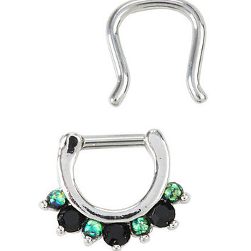 Steel Black & Green Gem Septum Clicker & Retainer 2 Pack
