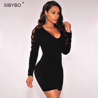 Newest  Criss Cross Lace Up Dress Long Sleeve Black / White Slim Sexy Night Club