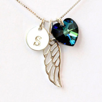 Guardian angel wing necklace with letter initial and Swarovski heart, personalized gift, sterling silver necklace memorial remembrance