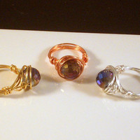 PRETTY - Iridescent Ring Wire Wrapped in Gold, Silver or Copper Craft Wire.