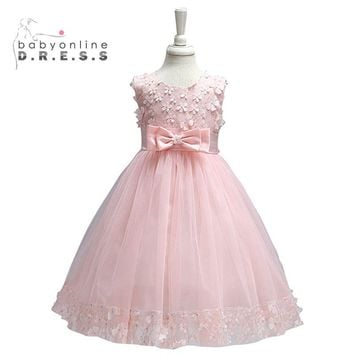 3-8T Vestido Princess Tutu Dress Summer Girls Dresses Mint Green Flower Girl Dresses 2017 Kids Birthday Party Dresses