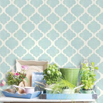 "Meadowlark Tabitha Watercolor Quatrefoil 33' x 20.5"" Trellis 3D Embossed Wallpaper"