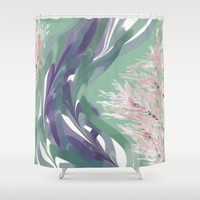 Deep Ocean River Abstract In Soft Green and Purple Shower Curtain by Jen Warmuth Art And Design