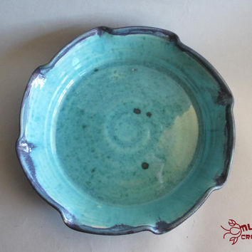 Ceramic Pie Plate - Purple and Light Blue