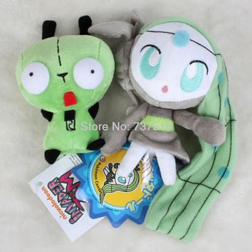 "Set Of 2Pcs Pokemon 6"" Meloetta & Mini Alien Invader Zim Gir 3D Bulging Eyes Green 5.5''  Plush Animals Doll Cute Toys Gift"