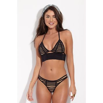 Hard Summer Longline Triangle Bikini Top - Black