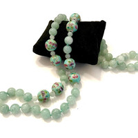 Long Single Strand Jade Necklace, Aqua Jade Beads & Floral Aqua Beads, Hand Knotted, 32 Inches, Mid-Century, Vintage Gift for Her