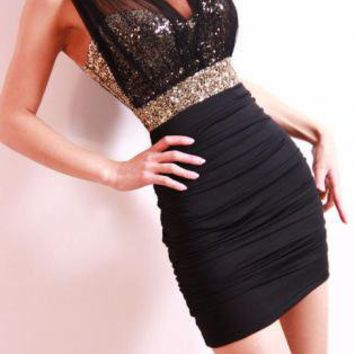 Black Slim Sexy Mesh Sequined Dress