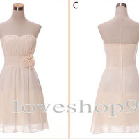 2014 New Custom Simple Short amazing Ruffle Chiffon Prom Dress Homecoming dressElegant Bridesmaid Dress Adorable Evening Gown Party Gown
