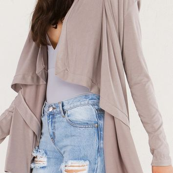 AKIRA Soft Open Cardigan in Taupe