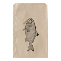 Strange vintage fish drawing favor bag