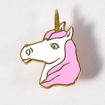 Pink & White Unicorn Enamel Pin