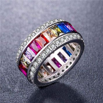Women 925 Silver Princess Cut Multicolor Topaz Gorgeous Wedding Ring Size 6-10
