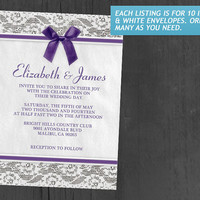 Purple Country Lace Wedding Invitations | Invites | Invitation Cards