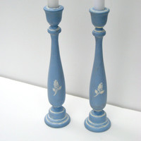 Vintage wood Candlesticks, Set of two painted candle holders, Wedgwood sky blue cottage chic, Up scaled, Wedding decor