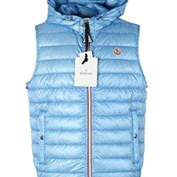 Moncler CL Blue Gien Hooded Shell Gilet Vest Size 5 / XL / 54/44 U.S.