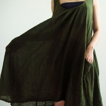 Moss Green Maternity Cotton Dress SXXL by SweetCakeCookie on Etsy
