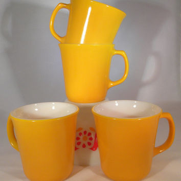 Mugs, Golden Orange Mugs-Corning-Set of 4