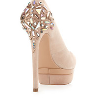 Ferranta Crystal-Back Platform Pump, Light Natural