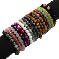 2016 New Summer Style Natural Stone Beads Bracelet Women Men Rose Quartz/Agate/Tiger Eye Beaded Stretch Bracelets Bangles F2852
