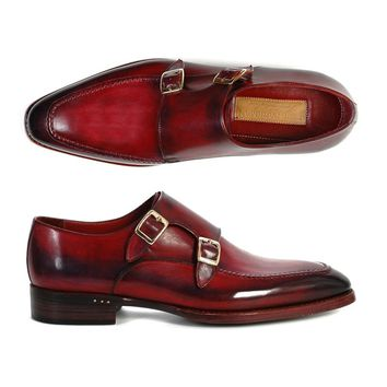 Paul Parkman Men's Double Monk Strap Shoes Black & Bordeaux (ID#PP3851)