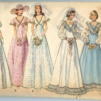 1970s Vintage Sewing Pattern Simplicity 6399 Wedding and Bridesmaid Dress Gown Bust 36