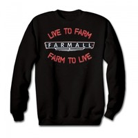 Farmall Mens Black Pull Over Sweatshirt - Live To Farm