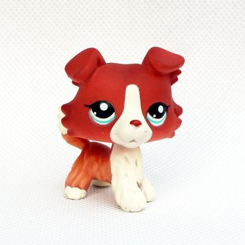 Cute lps toy action figure Rare Animal pet shop collie 1542 little bronw dog with blue eyes