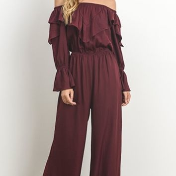 Layer It On Me Wine Long Sleeve Off The Shoulder Ruffle Wide Leg Jumpsuit (Pre-Order)