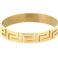 "Edforce Stainless Steel Unisex Greek Design Bracelet with Side-closing Clasp (Yellow Gold Plating) - 2.68"" x 2.32"" Diameter, 0.47"" H"