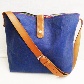 OTTOBAGS Blue Canvas Tote  Leather Single Strap by ottobags