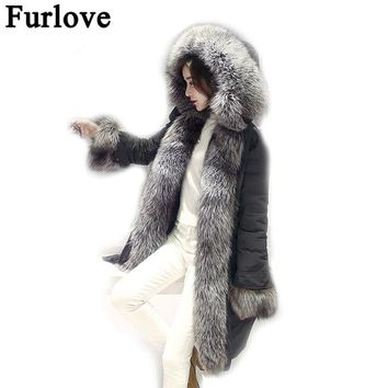 Furlove Army Green Parka Real Fur Collar Winter Coats Ladies Long Sleeve Real Fox Fur Lined Hooded Plus Size Outerwear Parkas