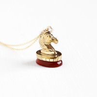 Antique Gold Filled Carnelian Horse Fob Necklace - Edwardian Red Gemstone Equestrian Pendant Seal Style Figural Animal Rare Jewelry