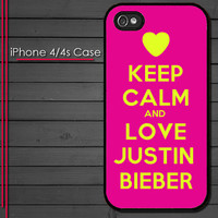 iPhone 4 Case - Keep Calm and Love Justin Bieber - iPhone 4s Case - iPhone 4 cover  skin -