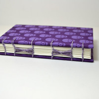 Purple Bullet Journal Notebook,Purple Skulls Diary, Hard Cover, Mohawk Paper, Food Diary, Torn Edge Book, Sketchbook, Small