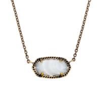 Elisa Brass Pendant Necklace in White Agate | Kendra Scott