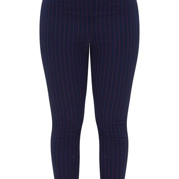 Shape Navy/Red Pinstripe Cigarette Trousers
