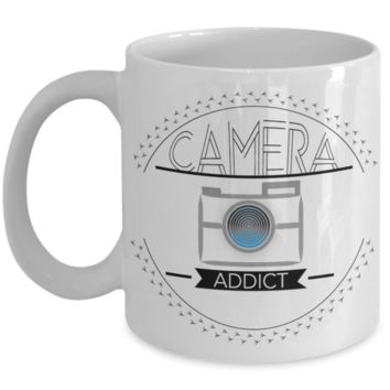 Camera Addict and Selfie Lovers Camera Mug, Gifts for Photographers, Gifts for Coffee Lovers, with Funny Quote, 11oz