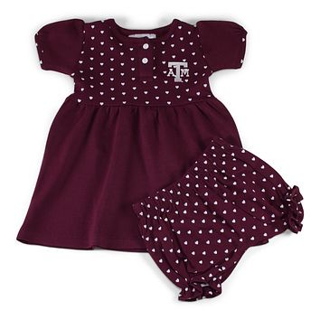 Texas A&M Girl's Heart Dress with Bloomers