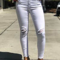 Distressed Skinny Jeans Optic White