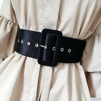 New Design Wide belt female dress belts decorate waistband fashion silver pin buckle Velvet belt party belt black flannel women