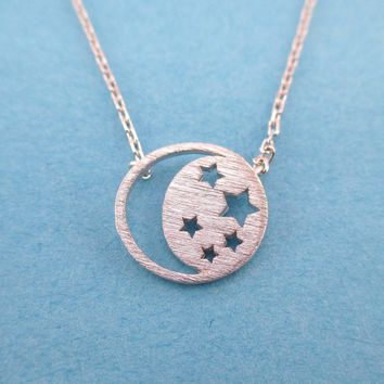 Celestial Crescent Moon and Stars Cut Out Shaped Pendant Necklace in Silver   DOTOLY