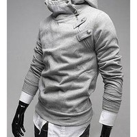 Free Shipping Grey Men Cotton Slim Fitting Casual Pullover Hoodie S/M/L/XL T-1607-198 from TopManClothing