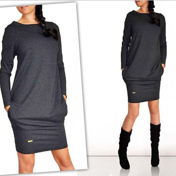 2016 Desig Spring Women Dress New Casual Clothing Work Wear Office Party Dresses Long Sleeve Plus Size Vestidos Free Shipping