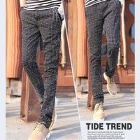Slim Fit Checkerboard Pants