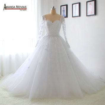 2016 Sleeves Lace Wedding Dress Ball Gown Princess Actual Photos