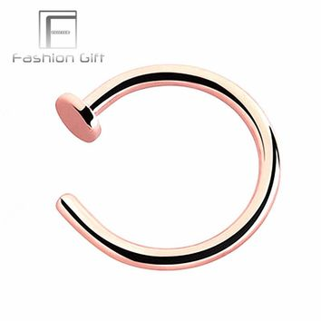 Rose Gold Color Fake Nose Rings False Piercing Body Jewelry G23 Titanium Hoops